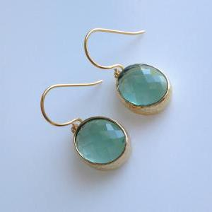 Erinite Green Oval Earrings , Drop,..